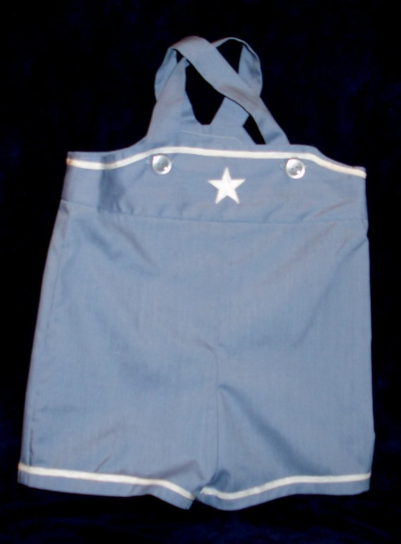 Baby Boy Nautical Style Slate Blue Romper with White Middy Braid Trim Size 18 Months