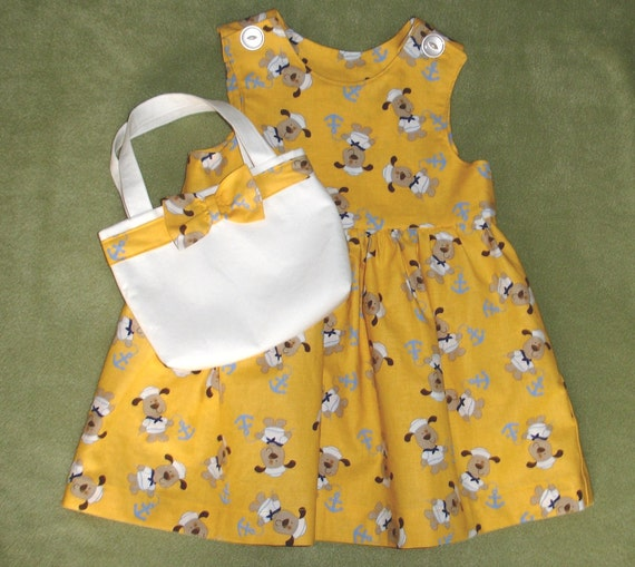 Golden Yellow Doggie Prnt Toddler Dress and Matching Purse Size 1T