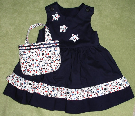 Toddler Navy Dress with  Double Ruffle and Appliqued Bodice with Matching Purse Size 2T