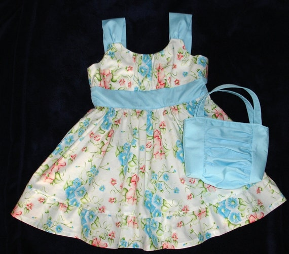 Girls Blue, Pink and White Floral Print Sun Dress With Shirred Bodice and Matching Purse Size 4T