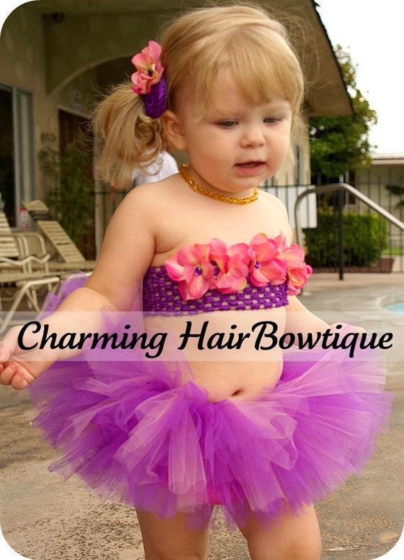 Beautiful Custom Hand Sewn Flower Bikini Top Tutu Rosette Hair Accessory Set