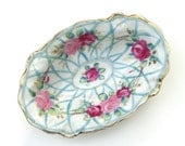 Antique Hand Painted Bowl : Pink and Aqua