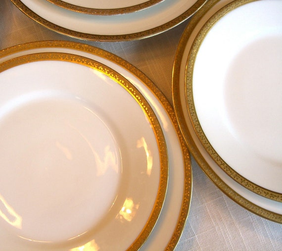 Vintage Limoges Plates Gold Trim Bread and Butter