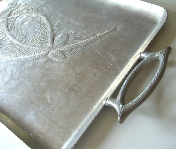 Vintage Aluminum Tray : Branch Handles Pinecone Design