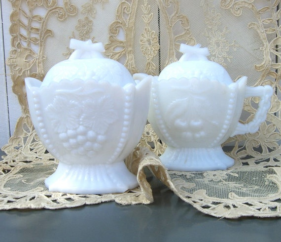 Vintage Westmoreland Milk Glass Cream And Sugar Cherries