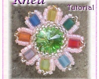 Beaded Pendant Tutorial with Swarovski Rivoli and Cubes: Rhea (DownloadablePDF)