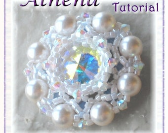 Pendant beading tutorial - Bead woven Pendant with bezeled Rivoli: Athena (Downloadable PDF)
