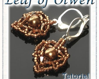 Beaded Earrings Pattern / Tutorial Leaf of Olwen - Instant Download PDF