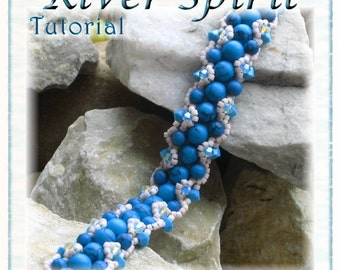 Bracelet Tutorial: River Spirit Beaded Turquoise Gemstone  - Instant Download PDF