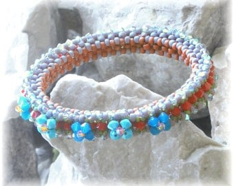 Beaded Bracelet / Bangle Tutorial (Digital Download PDF) Ocean Flowers