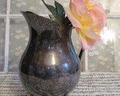Large Silver Plated Pitcher, Vase with Ornate Feet and Handle