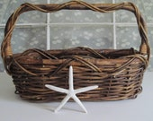Rustic Wicker Basket with Grapevine Handle Large Rectangular Brown Beauty
