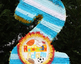 Large Customizable Number Two Pinata. Numero Dos.