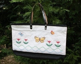 Large Tote Bag with Cross-Stitched Flower Motif