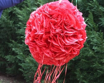 Bright Red Pomander Pinata.  Flower Ball. Wedding Decor.  Bachelorette Party Activity.  Bridal Shower.