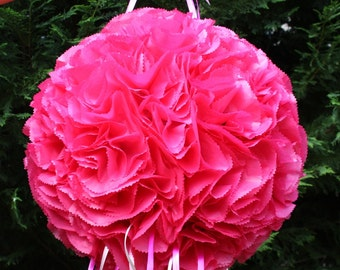 Wedding Pinata. Hot Pink Flower Ball Pinata. Pomander.  Kissing Ball Pinata. Bachelorette Party Activity.  Bridal Shower.