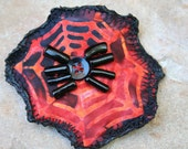 Halloween Chunky Folkart Spider on Web Barrette - Hand Crafted Batik Spiderweb and Beaded Spider Barrette