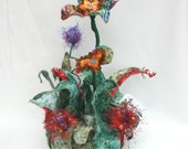 ON SALE - Multi Media Sculpture - Purple and Red Sunrise Garden Glimpse - Fabric flowers with hand beading on base