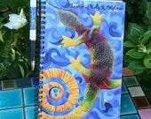 Original Art Image Notebook and Pen Gift Set - Lizard in Blue Sky Original Painting