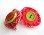 Whimsical Red and Lime Hair Clips  - Hand Crafted Red and White Dotted Fabric Hair Clips With Sewn Button Centers