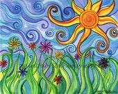 Original Matted Watercolor Print - Sunny Skies
