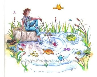 Original Illustration Colored Pencil and Ink  - Gone Fishing