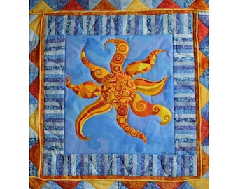 Art Quilt, Quilted Fiber Art Painting, Folk Art Oaxacan Sun on Blue, Acrylic Painting with Quilted Border,  Whimsical Home Decor, OOAK