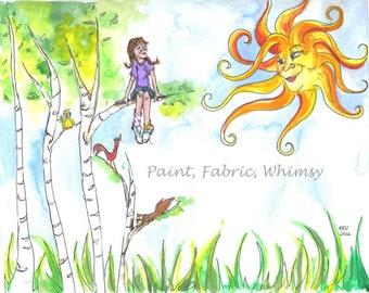 Matted Print 8 x 10 of Original Watercolor Children's Room Home Decor Golden Sun Birch Trees