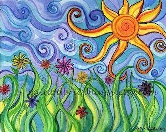 Print Matted 8x10 of Original Watercolor - Sunny Skies