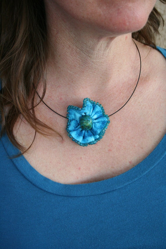 Blue Batik Beaded Fabric Flower Choker - Soft Sculpture Flower in Aqua Marine Batik with Turquoise Glass Beads
