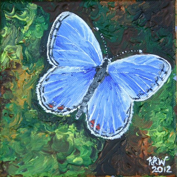 Mini Butterfly Painting - Eastern Tailed Blue Butterfly - acrylic on canvas mini painting