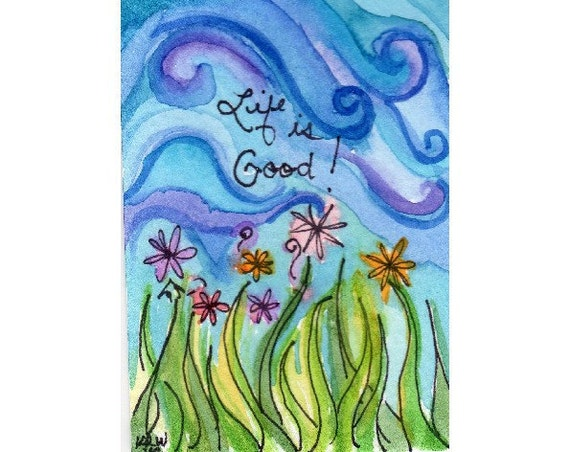 ACEO - Matted Original Watercolor Collectible - Blue Sky Flowers Green Grass