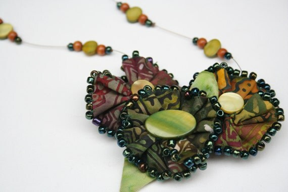 On Sale Beaded Necklace with Fabric Flower  - Batik Soft Sculpture Flowers Green Brown
