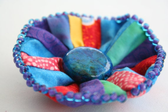 Brooch Rainbow Spring Beaded Fabric Flower  - Soft Sculpture Flower in Rainbow Brights with Bead Center