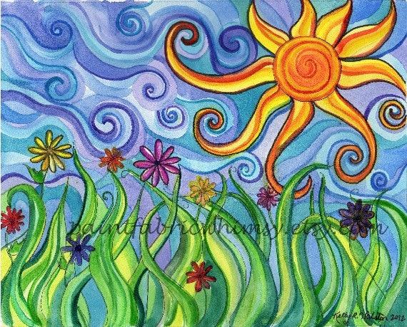 8x10 Original Matted Watercolor Print - Sunny Skies