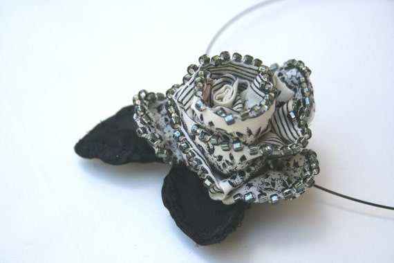 Beaded Fabric Flower Necklace - Elegant Soft Sculpture Flowers in Black and Creamy White