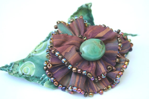 Barrette Fabric Flower Leaves  - Beaded Chocolate Mint Fiber Art