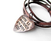 Guitar Pick Necklace - leather necklace - Man necklace - Home is Wherever I'm with you - Mens gift, handmade jewelry, music