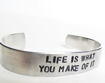 Adjustable Bracelet, Inspirational Hand Stamped Cuff, Graduation Gift, secret message, kick ass, motivational, back to school