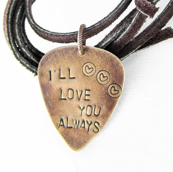Mens Leather Necklace stamped GUITAR PICK love you always
