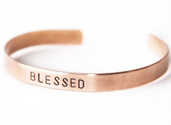 Skinny cuff bracelet, Copper bracelet, Blessed - stocking stuffer, gift for her, graduation gift, handmade jewlery