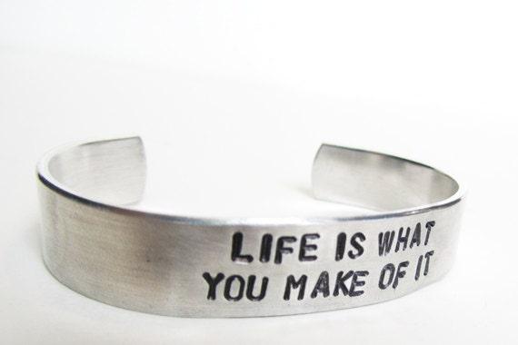 Adjustable Bracelet, Inspirational Hand Stamped Cuff, Graduation Gift, secret message, hidden message