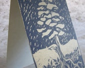 holiday cards: Snowy Pine block print
