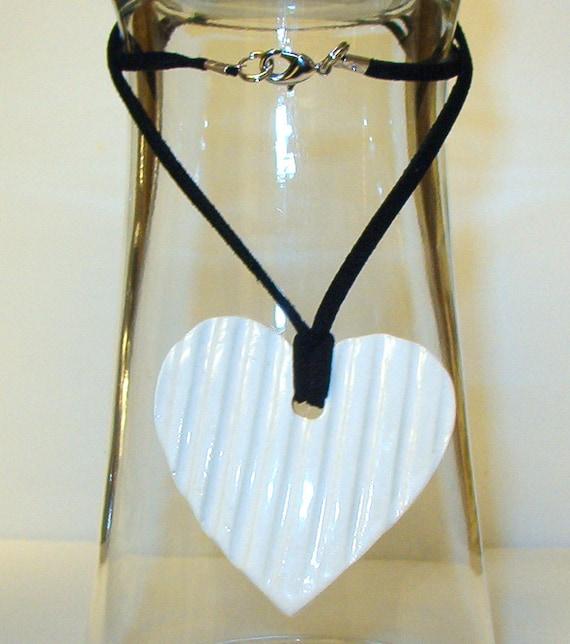 Porcelain Heart Pendant in White
