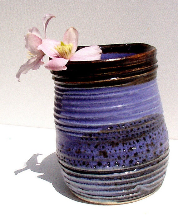 Purple and Black Vase, Spoon Holder, Hand thrown pottery