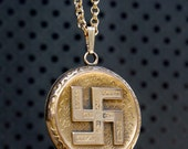 On Hold --------------------------Victorian Gold Filled Locket With Swastika W. & S. Blackinton Co----------ON HOLD