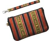 SALE - Zipper Wristlet Clutch - Black, Gold, Olive Stripe with Detachable Wrist Strap - 2 Interior Pockets - Ready to Ship