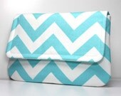Clutch Purse - Aqua Blue and White Chevron with 2 Pockets - Optional Shoulder Strap or Detachable Wrist Strap - Made to Order