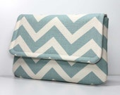 Clutch Purse - Dusty Blue and Natural Chevron with 2 Pockets - Made to Order