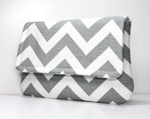 Clutch Purse - Grey / Gray and White Chevron with 2 Pockets - Optional Shoulder Strap or Detachable Wrist Strap - Made to Order